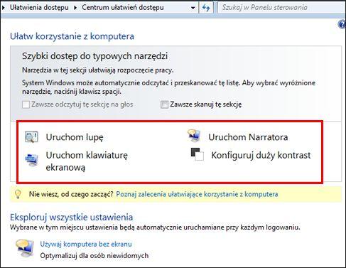 Okno dialogowe centrum ułatwień dostępu systemu Windows, w którym można wybrać technologie ułatwień dostępu