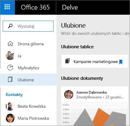 Wybierz pozycję Ulubione, aby wyświetlić ulubione dokumenty i tablice