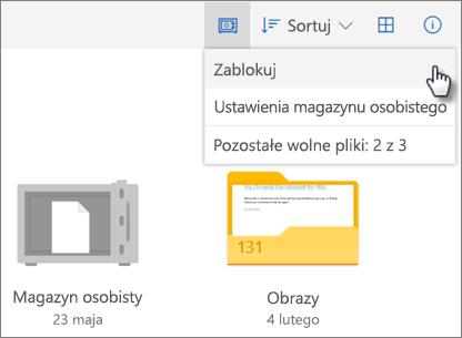 Zrzut ekranu przedstawiający blokowanie magazynu osobistego w usłudze OneDrive