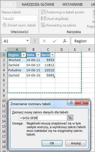 Zmienianie rozmiaru tabeli