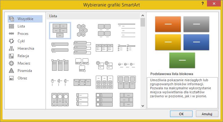 Opcje w oknie dialogowym Wybieranie grafiki SmartArt
