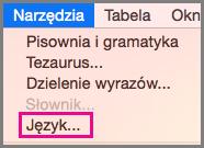 Polecenie Język w menu Narzędzia w pakiecie Office dla komputerów Mac