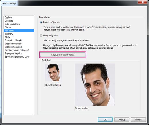 Zrzut ekranu przedstawiający okno opcji Mój obraz z wyróżnionym przyciskiem Edytuj lub zmień obraz