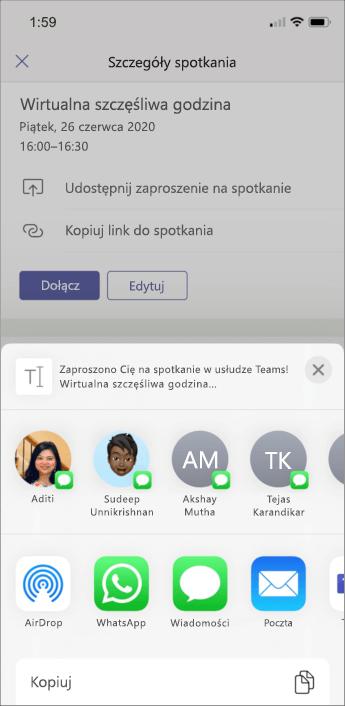 Szczegóły spotkania — zrzut ekranu z telefonem komórkowym