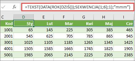 Arkusz programu Excel z funkcją SEKWENCJA