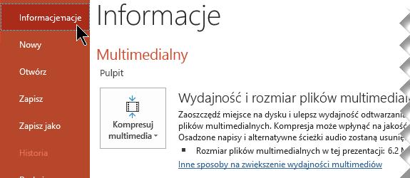 Kliknij pozycję Kompresuj multimedia
