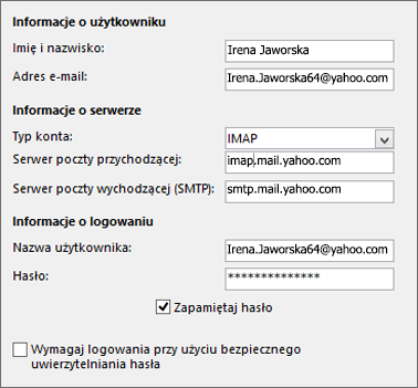 Wprowadzanie informacji o serwerze dla usługi Yahoo