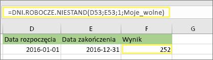 =DNI.ROBOCZE.NIESTAND(D53;E53;1;MojeDniWolne) i wynik: 252