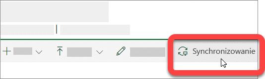 Zrzut ekranu przedstawiający przycisk Synchronizuj w bibliotece programu SharePoint.