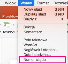 Menu Wstaw w programie PowerPoint 2016 dla komputerów Mac