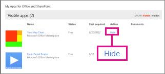 Ukrywanie aplikacji dla pakietu Office