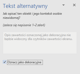 Okienko Tekst alternatywny dla elementów dekoracyjnych programu Word dla 32-bitowego systemu Windows