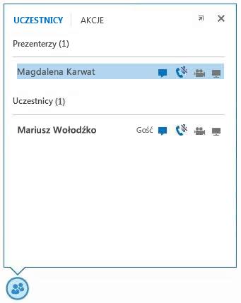 Zrzut ekranu: ikony obok nazwy uczestnika wskazujące dostępność wiadomości błyskawicznych, komunikacji audio i wideo oraz możliwości udostępniania
