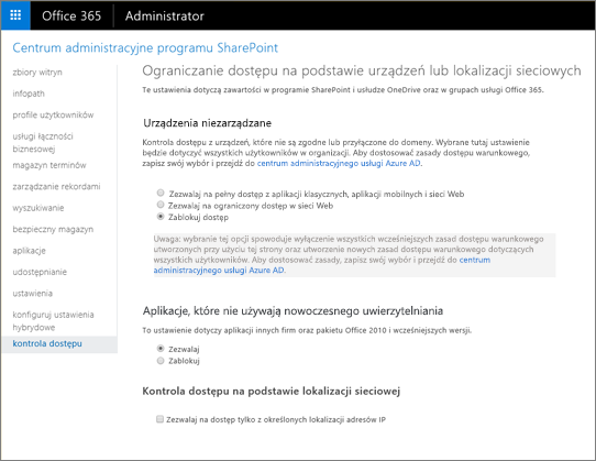 Blokowanie dostępu ustawienie na stronie kontrolki programu access