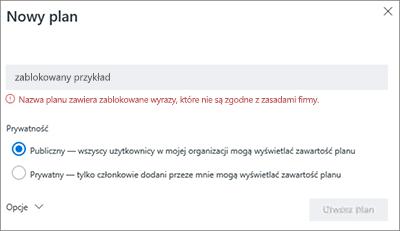 Zrzut ekranu: Nazewnictwa zasad grupy — Tworzenie nowej przykład planu zablokowane