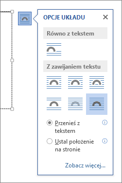 Opcje układu pola tekstowego