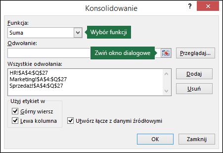 Okno dialogowe Konsolidowanie danych
