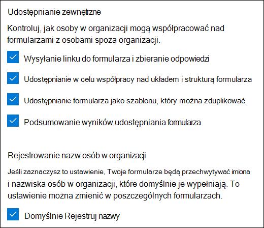 Ustawienie współpracy w programie Microsoft Forms