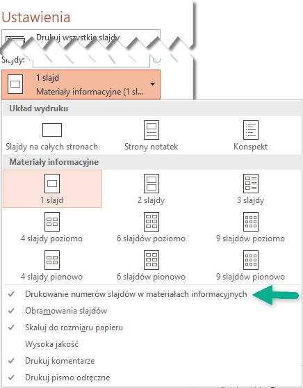 Drukuj numery slajdów w materiałach informacyjnych.
