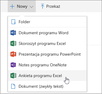Menu Nowy, polecenie Ankieta programu Excel