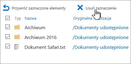 Kosz programu SharePoint 2016 2 poziomu wszystkie zaznaczone elementy i Usuń wyróżnione