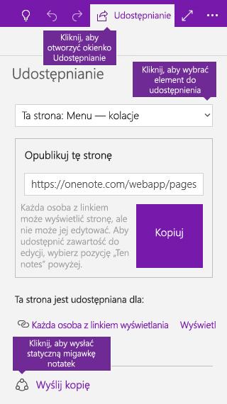Zrzut ekranu przedstawiający wysyłanie kopii notatek z programu OneNote