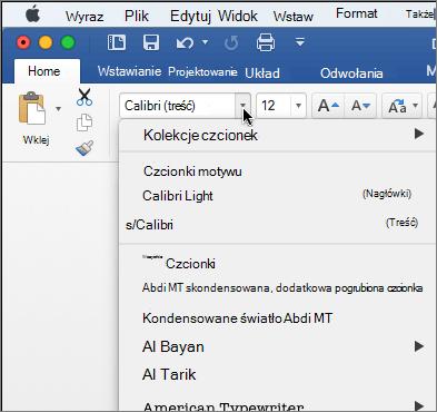 Kliknij przycisk Czcionka rozwijanej w programie Word, aby zmienić krój czcionki tekstu.