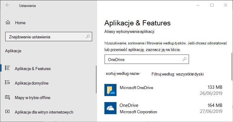 Ustawienia aplikacji usługi OneDrive w systemie Windows