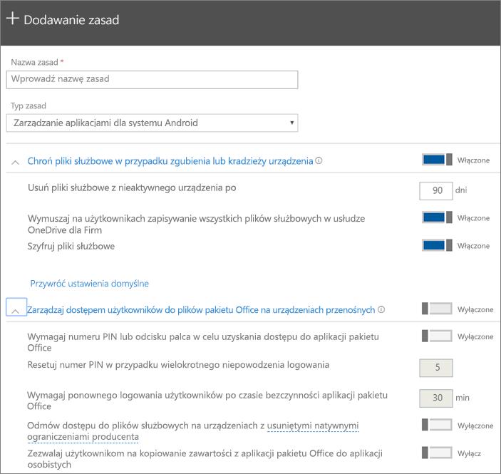 Zrzut ekranu przedstawiający tworzenie zasad z wybraną opcją Zarządzanie aplikacjami dla systemu Android