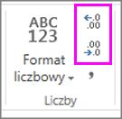 zwiększanie lub zmniejszanie liczby miejsc dziesiętnych dla formatowania liczb