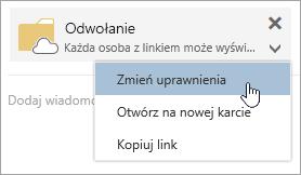 Zrzut ekranu przedstawiający menu Więcej akcji
