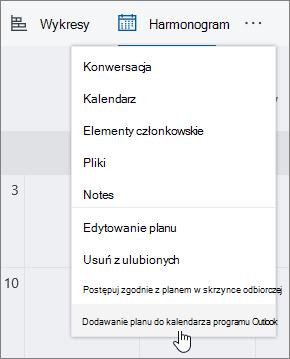 Zrzut ekranu przedstawiający menu terminarz z wybranym poleceniem Dodaj plan do kalendarza programu Outlook.