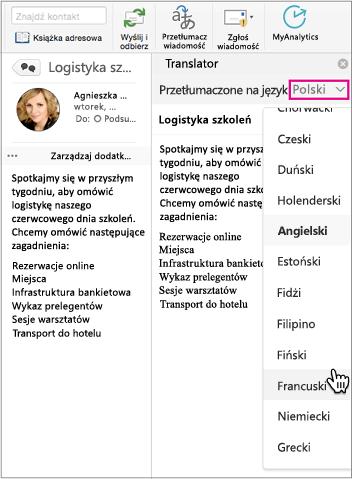 Użyj listy rozwijanej, aby wybrać język, na jaki chcesz przetłumaczyć tekst wiadomości