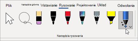 Wybieranie narzędzia edytora pisma odręcznego