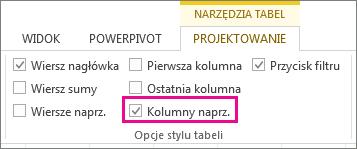 Pole Kolumny naprzemienne na karcie Narzędzia tabel > Projektowanie