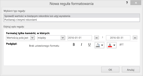 Zrzut ekranu przedstawiający interfejs okna dialogowego Nowa reguła formatowania