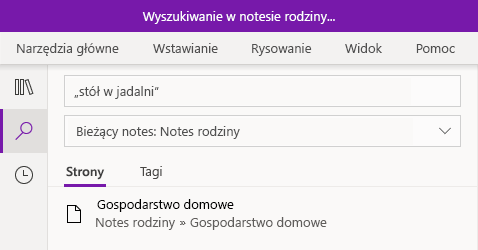 Wyszukiwanie frazy tekstu w programie OneNote dla systemu Windows 10