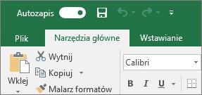 Pasek tytułu w programie Excel przedstawiający przycisk przełączania funkcji Autozapis