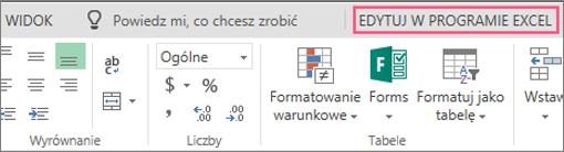 Przycisk Otwórz w programie Excel