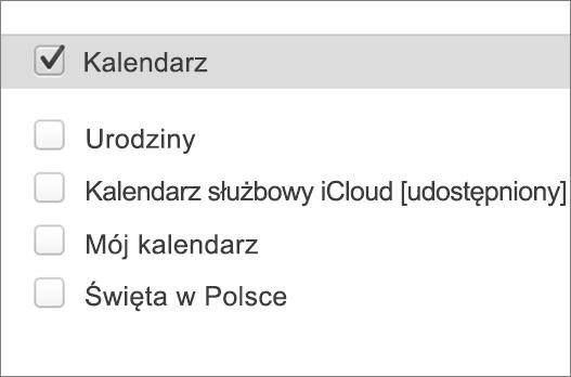iCloud kalendarzem programu Outlook 2016 dla komputerów Mac