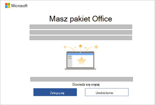 Pokazuje okno dialogowe, które wyświetla się w momencie otwarcia aplikacji pakietu Office na nowym urządzeniu z licencją pakietu Office.