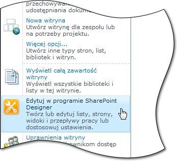 Pozycja programu SharePoint Designer 2010 w menu Akcje witryny