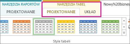 Grupa Style tabeli na karcie Narzędzia tabel > Projektowanie