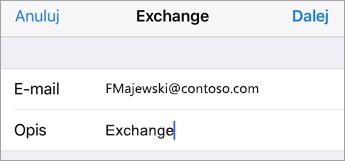 Logowanie się do programu Exchange