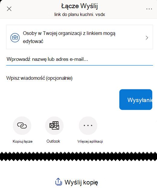 """Za pomocą opcji w obszarze """"Wyślij link"""" możesz udostępnić diagram innym osobom."""