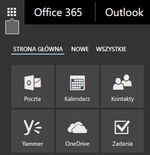 Uruchamianie aplikacji usługi Office 365 z kafelkami Poczta, kalendarz, kontakty, usługi Yammer, OneDrive i zadania