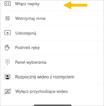 Włączanie podpisów na żywo — zrzut ekranu z telefonem komórkowym