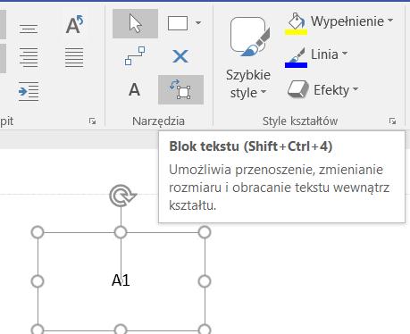 Wybrane narzędzie Blok tekstu