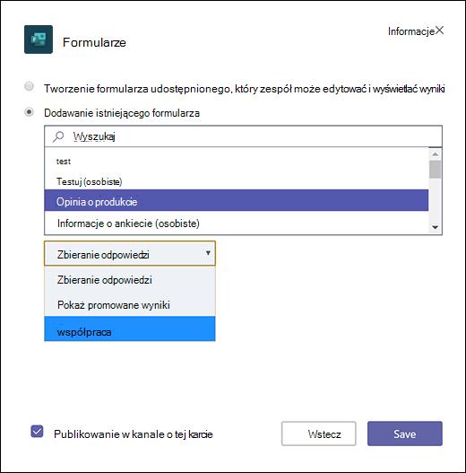 Dodawanie istniejącego formularza grupy do aplikacji Microsoft Teams