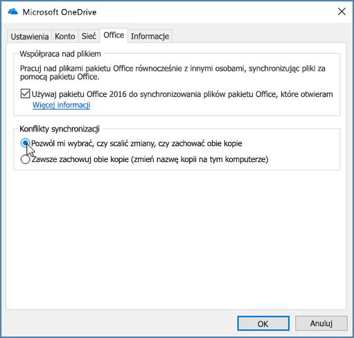 Pakiet Office, karta okna dialogowego Ustawienia synchronizacji